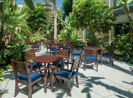 Courtyard Area with dining tables and chairs