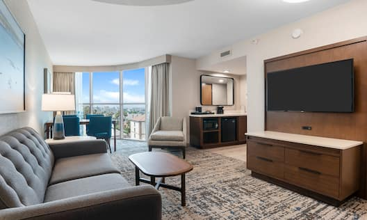 King Suite Living Room Open Curtain