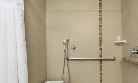 Accessible Guestroom Bathroom with Roll-In Shower and Seat