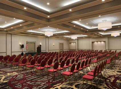 Ballroom with Red Chairs in Rows