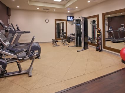 Fitness Center with Treadmills Exercise Bike and Weights