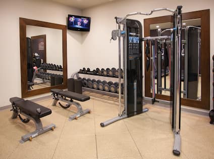 Fitness Center with Weights Exercise Balls and HDTV