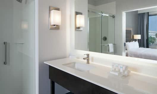 Guestroom Bathroom Vanity Walk-In Shower