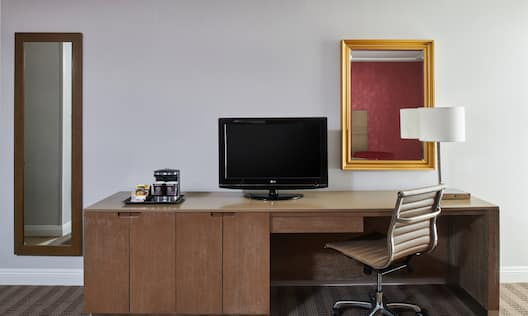Room Amenities such as HDTV and Work Desk