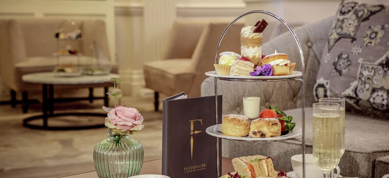 afternoon tea setup in a lobby lounge area