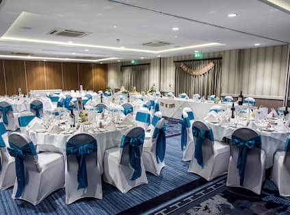 Ballroom setup for wedding reception