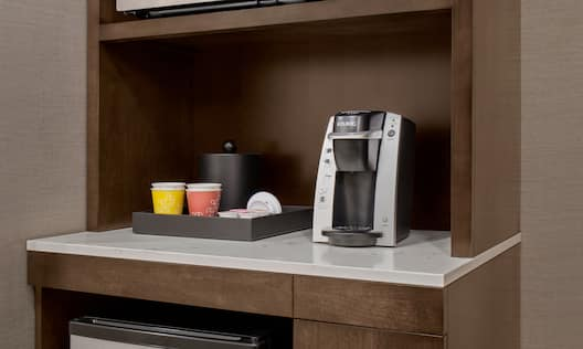 Wood Cabinet With Microwave, Ice Bucket, Cups, Keurig and Mini Fridge