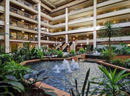 hotel atrium water fountain, plants