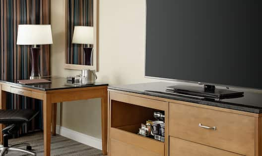Television and Desk in Guest Room