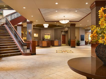Front Desk and Staircase