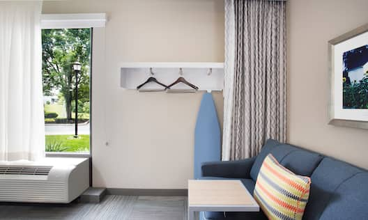 Soft closet space, Sofa with Laptop Table, Wall art, and Outside View