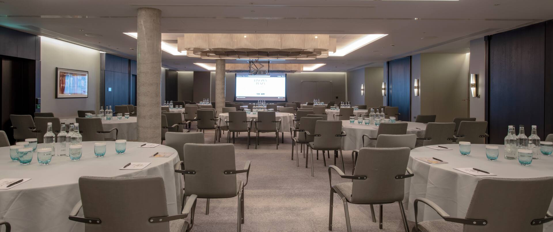 Clipper meeting room set up with round tables