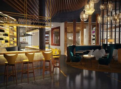 Porto Sal Bar with high top chairs, half-booth and chair table seating area