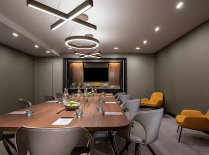 Meeting space with table and chairs