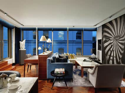 Suite Living Area with Large Windows