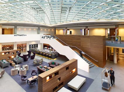 View of atrium roof and hotel lobby from the Mezzanine floor