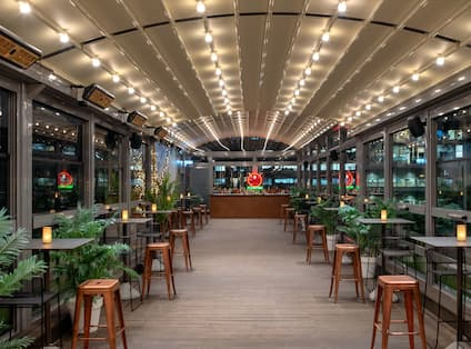 Wildside Cocktail Set Up by Night with Roof Closed