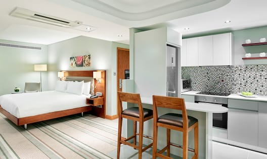 Room with Bed, Kitchen, and Dining Area