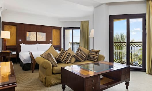 Large Bed and Sofa in Suite with River Nile View