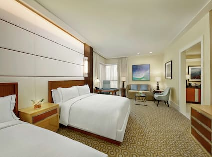 Executive Guestroom with Two Queen Beds and Lounge Area