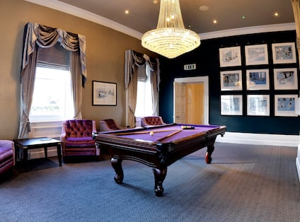 Games Room with Armchairs, Coffee Table and Pool Table