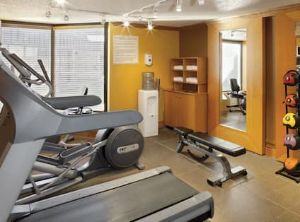 Fitness Center with Treadmill, Cross-Trainer and Weight Bench