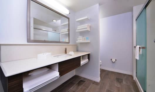 Sink, Toiletries, Amenities, Vanity Mirror, Towels, Toilet Behind Partition, and Shower With Glass Doors in Guest Bathroom