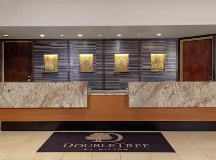 a hotel reception desk