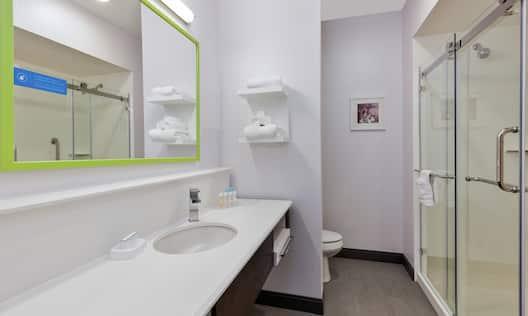 Standard Guest Bathroom Vanity and Shower