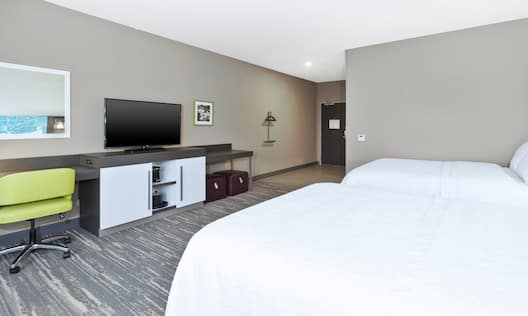 Accessible Guest Room with Double Queen Beds, Work Desk and Television