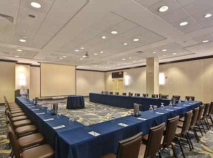 Meeting Room with Large U-Shaped Conference Table