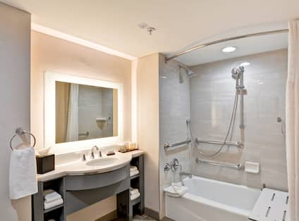Accessible Bathroom with Shower and Tub with Seat