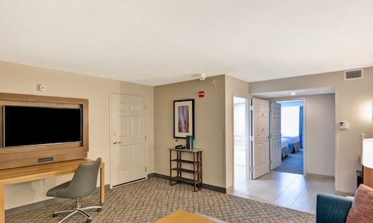 Double Accessible Suite Living Area with Television, Lounge Seating and Entry
