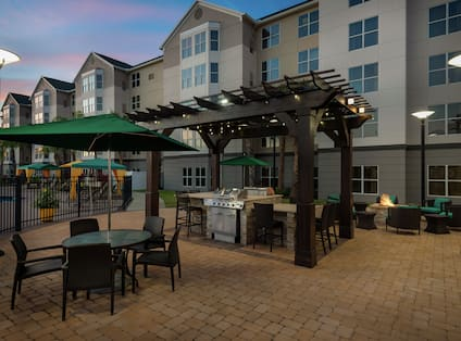 outdoor patio with grill available