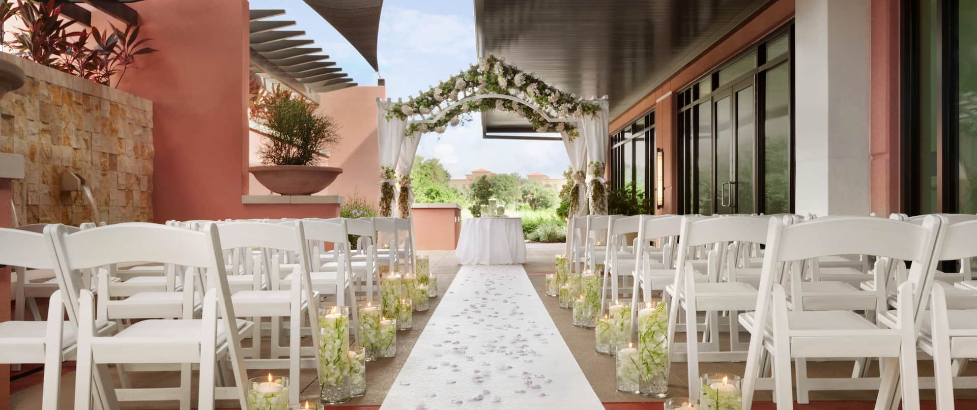 Outdoor Patio Wedding Reception Setup