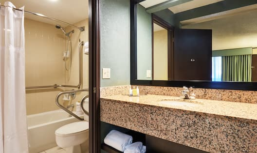 Accessible Bathroom with Shower, Tub and Handrails