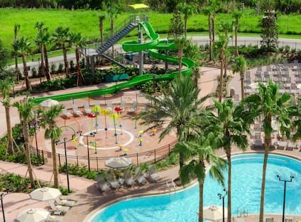 Pool with Splashpad and Water Slide