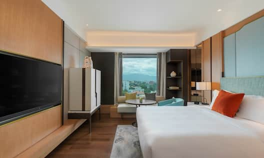 Guest Room with Large Bed HDTV and City View