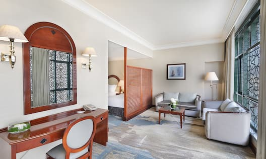 Partial Haram view, 52 sq m/560 sq ft, seating area, sofa, large windows, marble bathroom