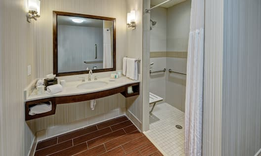 Accessible Roll-in Shower and Vanity wit Amenities