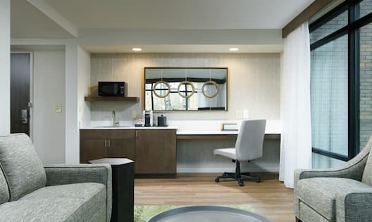 King Guestroom Suite with Kitchenette, Lounge Area, and Work Desk