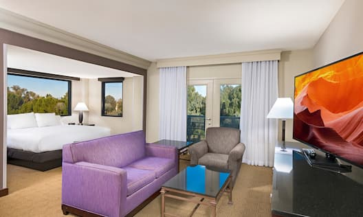Room with Bed, Couch, and TV