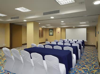 Rows of tables and chairs, set up for a presentation in the salon room.
