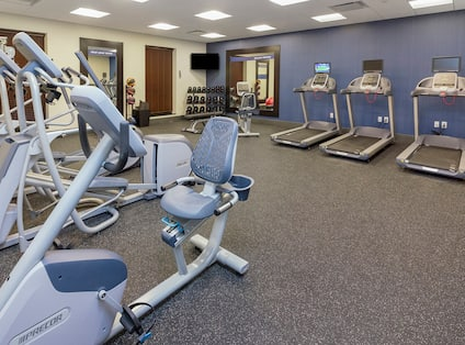 Fitness Center with Treadmills, Cycle Machine, Cross-Trainers and Dumbbell Rack
