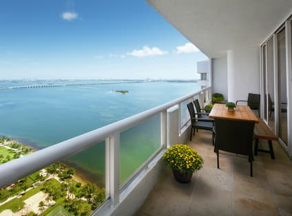 Views of Biscayne Bay from Bedroom Balcony