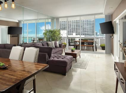 Open Concept living space with a fully equipped Kitchen, Dining, and Living Room