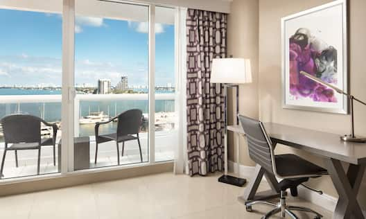 Spacious Desk Area and Large Window with Balcony Offering Bay View