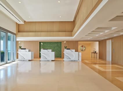 Lobby area with reception desks