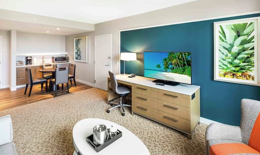 Accessible Suite with Lounge Area, Work Desk, Room Technology, and Kitchenette