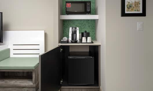 Microwave Refrigerator and Coffemaker in Guest Room
